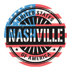 Grunge stamp with the text United States of America, Nashville