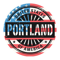 Grunge stamp with the text United States of America, Portland
