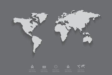 Gray color of world map with shadow,eps 10 vector.