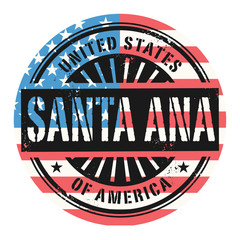 Grunge stamp with the text United States of America, Santa Ana