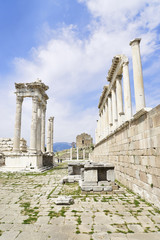 Temple of Trajan in the ancient city of Pergamon, Bergama, Turke