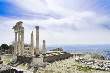 Temple of Trajan in the ancient city of Pergamon, Bergama, Turke
