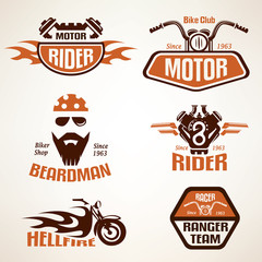 Set of vintage motorcycle labels, badges and design elements