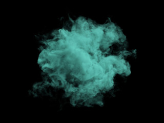 Green smoke on black background