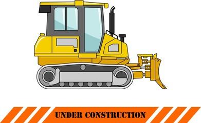 Dozer. Heavy construction machine. Vector illustration