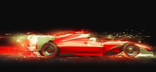 Formula One race car with light effect