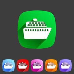 ship ferry boat flat icon badge set