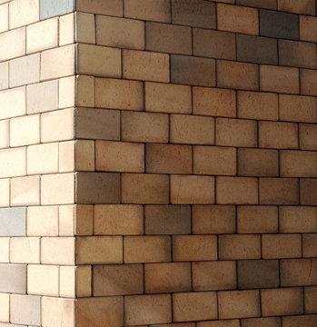 The corner of a brick wall