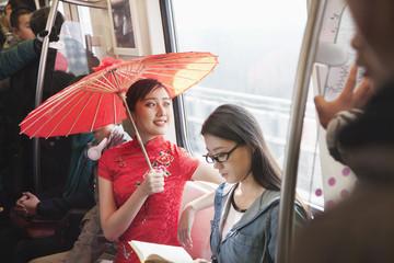 Chinese people riding subway