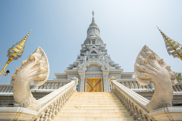 Oudong, stupa that contains relics of Buddha, stairs to golden d