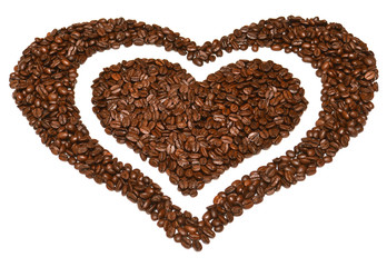 Heart from coffee beans