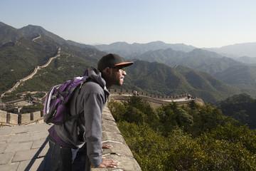 Black man standing on Great Wall of China, Beijing, Beijing, China