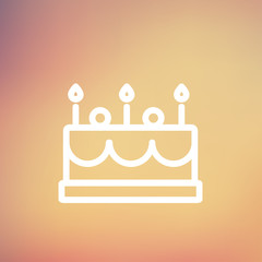 Birthday cake with candles thin line icon