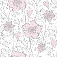 Vector magical lace flowers seamless pattern background