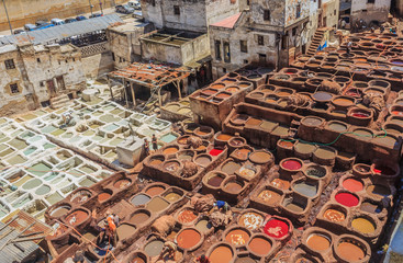 Tannery tanks in Fes, Morocco