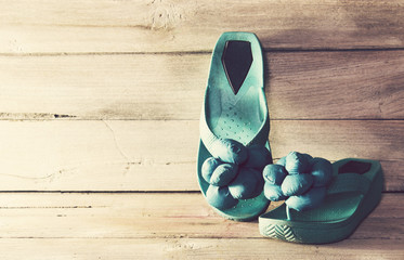 Vintage,slippers on wood