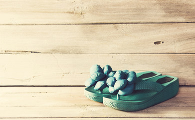 Vintage,slippers on wood