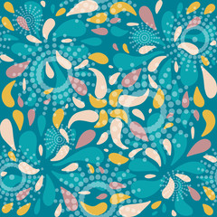 Seamless pattern with flower petals and circles.