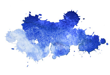 Abstract watercolor aquarelle hand drawn colorful blue art paint