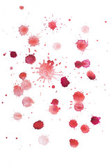 Abstract watercolor aquarelle hand drawn colorful shapes art red
