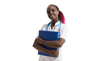 Doctor standing with folder
