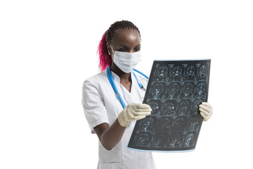Doctor looking at brain mri