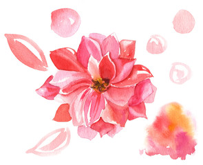 Decorative pink flower with additional design elements
