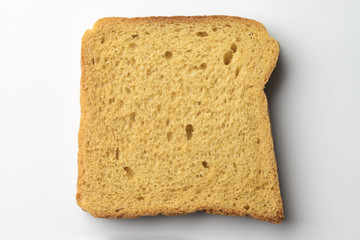 Whole Wheat Brown Bread Slice on White Background