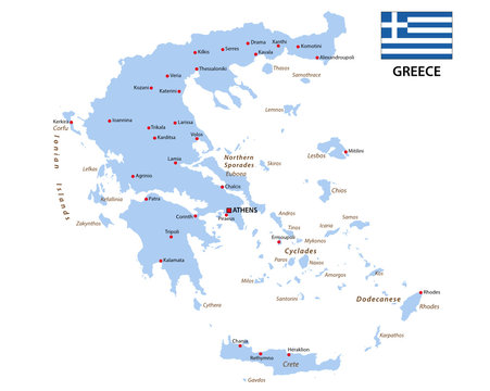greece map with flag
