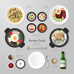 Infographic Korea foods business flat lay idea. Vector illustrat