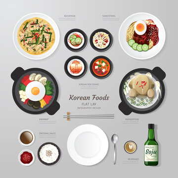 Infographic Korea foods business flat lay idea. Vector illustrat