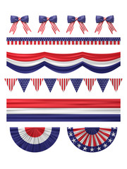 USA  independence day decoration borders set.