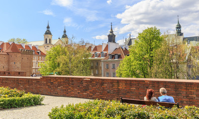 Old Town in Warsaw, view from city walls towards the new city