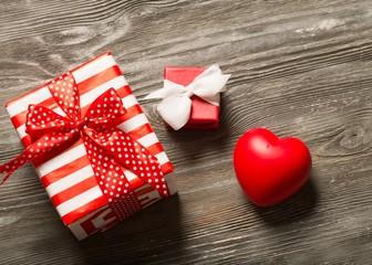 Anniversary. Set of gift box with hart
