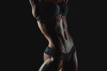 Beautiful Woman Bodibuilder Body Posing
