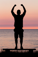 Man celebrating personal achievement