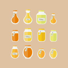 Vector illustration. Honey jars icons set