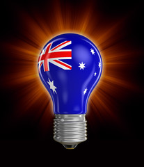 Light bulb with Australian flag (clipping path included)