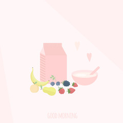 Vector illustration with yoghurt and fruits on a table