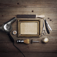 Barber tools with kraft canvas in a frame