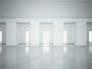 White clean open space interior. 3d render