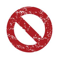 Red grunge sign ban logo