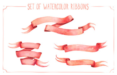 Set of watercolor ribbons