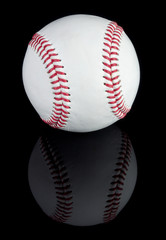 Baseball on black reflective background. Clipping path included