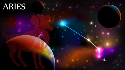 Aries Astrological Sign and copy space