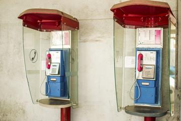 pair of public telephones