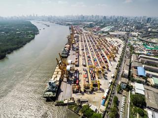 Aerial image of cargo seaport