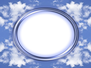 Blue, oval picture frame with background of clouds and copy spac