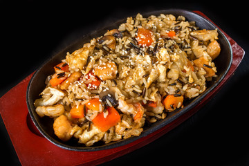 Rice with Vegetables and sesame seeds