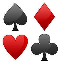 Card suit symbols. Spade, heart, diamond and club symbols.